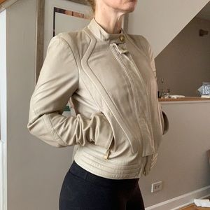 Faith Connexion taupe motorcycle leather coat 38